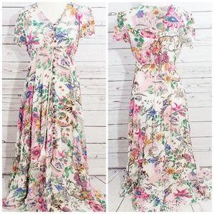 White multi floral button down summer maxi dress